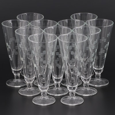 Clear Etched Glass Footed Pilsner Glasses, Late 20th Century