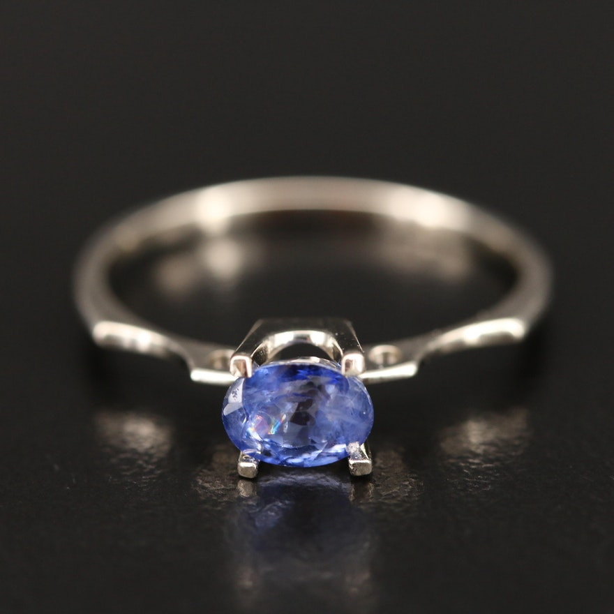 14K Sapphire East-West Ring