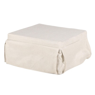 Hollywood Bed Frame Company Slip-Covered Convertible Sleeper Ottoman