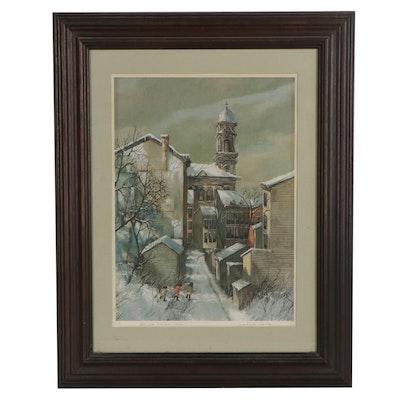 """Robert Fabe Offset Lithograph """"First Snow"""""""
