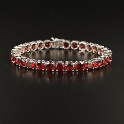 Sterling Garnet Line Bracelet