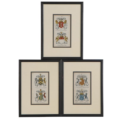 English Heraldic Crest Hand-Colored Engravings, 18th Century