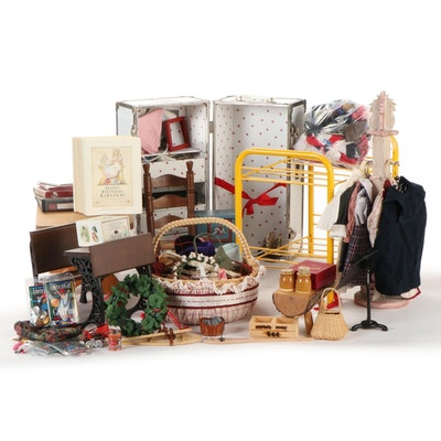 American Girl Accessories, Furniture and Trunk with Book and Activity Booklets