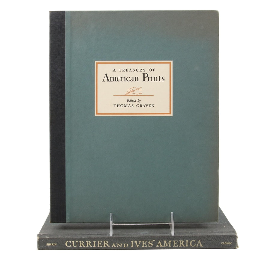 """""""A Treasury of American Prints"""" and """"Currier and Ives' America"""" Art Books"""