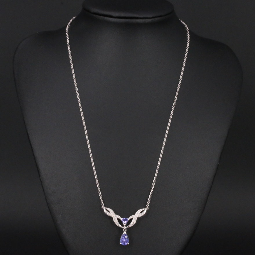 Sterling Tanzanite and Diamond Stationary Necklace