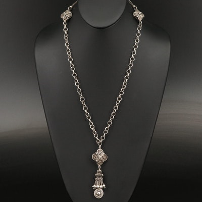 Sterling Necklace with Filigree Accents