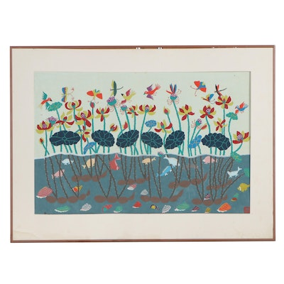 East Asian Gouache Painting of Pond Scene, Mid to Late 20th Century