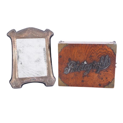 Victorian Brass Mounted Oak Photograph Box with Silver Metal Frame Mirror