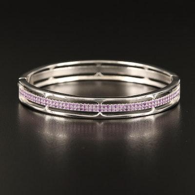 Sterling Amethyst Hinged Bracelet