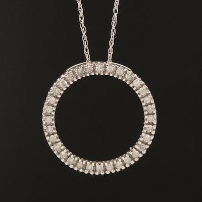10K Diamond Circle Necklace