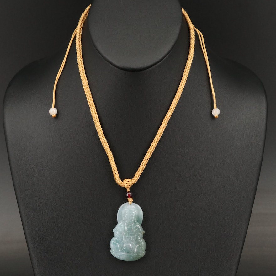 Quan Yin Carved Jadeite and Garnet Necklace