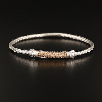 Sterling Woven Bracelet with Pavé Diamond Stationary