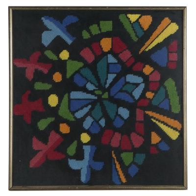 Handmade Framed Abstract Floral Needlepoint Panel