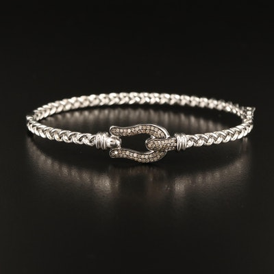 Sterling Diamond Buckle Bracelet