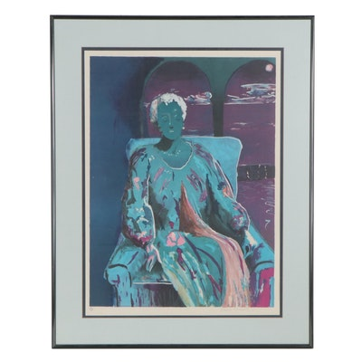 Sarah Churchill Lithograph of Seated Woman