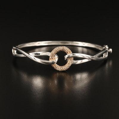Sterling Diamond Hinged Bracelet