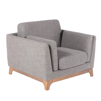 """Article """"Ceni"""" Modernist Style Upholstered Hardwood Armchair in Pyrite Gray"""
