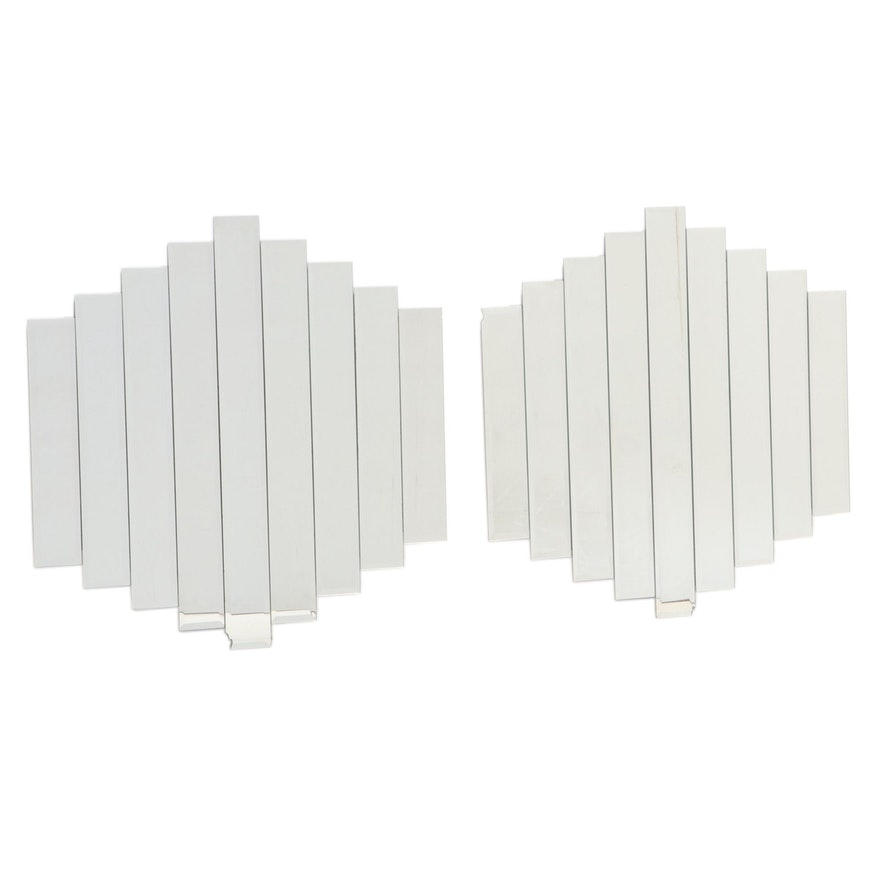 Stepped Panel Beveled Wall Mirrors, Late 20th Century