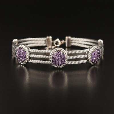 Sterling Amethyst Cluster Stations on Stainless Steel Cable Bracelet