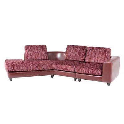 Two-Piece Carter Brothers Modernist Custom Fabric and Leather Sectional Sofa