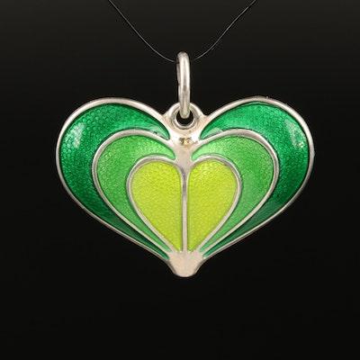 Vintage David Andersen Sterling Enamel Heart Pendant