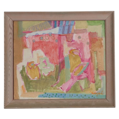 "Clotilde Royal Abstract Acrylic Painting ""Child's World"""