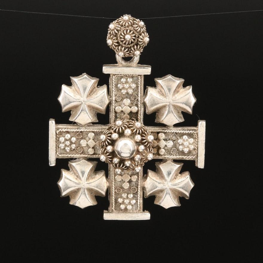 Sterling Jerusalem Cross Cannetille Pendant