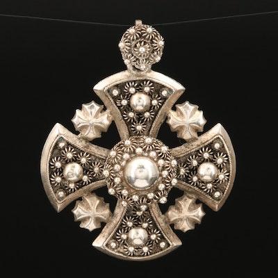 Sterling Jerusalem Cross Pendant