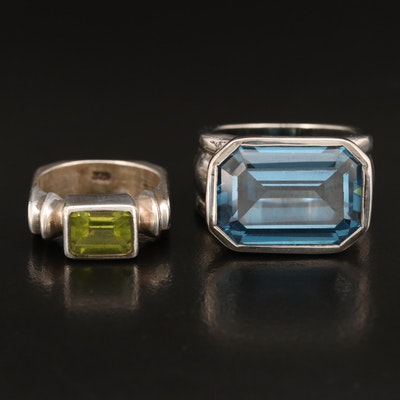 Sterling Rings with Peridot and Spinel