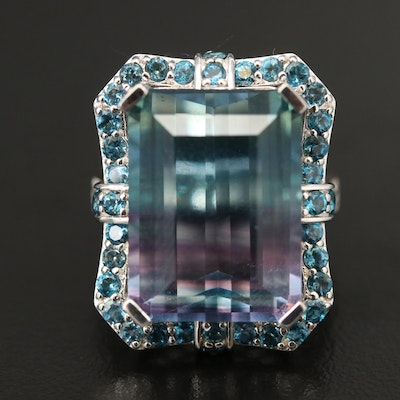 Sterling Fluorite and London Blue Topaz Statement Ring