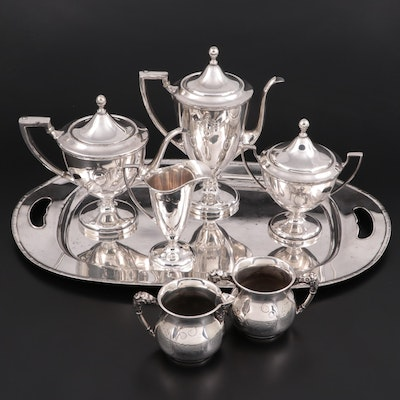 Adams Style Forbes Silver Co. Tea Set and Warrner Silver Plate Creamer and Sugar
