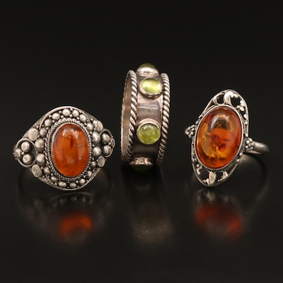 Sterling Rings with Peridot and Amber