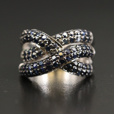 Sterling Sapphire Crossover Ring