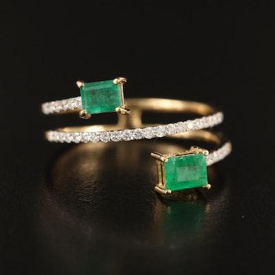 18K Emerald and Diamond Wrap Ring