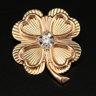 14K Diamond Four Leaf Clover Pin