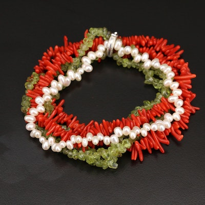 Expandable Pearl, Coral and Peridot Bracelets with Sterling Clip