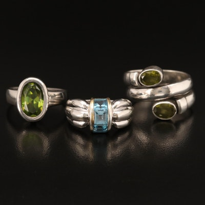 Sterling Rings Including Topaz, Peridot and Glass