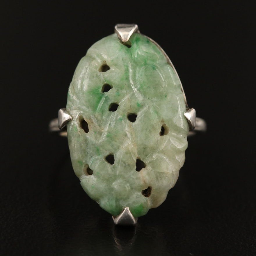 Vintage Sterling Carved Jadeite Flower Ring