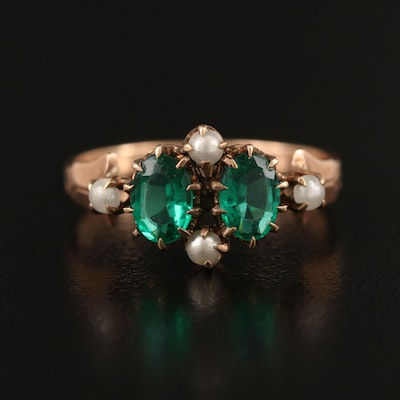 Antique 9K Glass and Imitation Pearl Ring