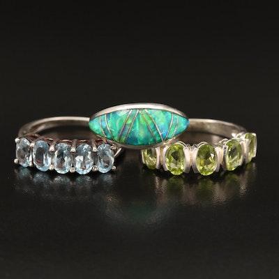 Sterling Rings Including Belinda Woody Navajo Diné Inlay Ring