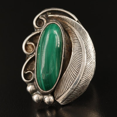 Southwestern Sterling Malachite Ring with Appliqué