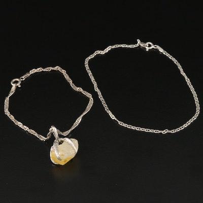 Sterling Silver Sapphire Talon Bracelet and Mariner Link Bracelet