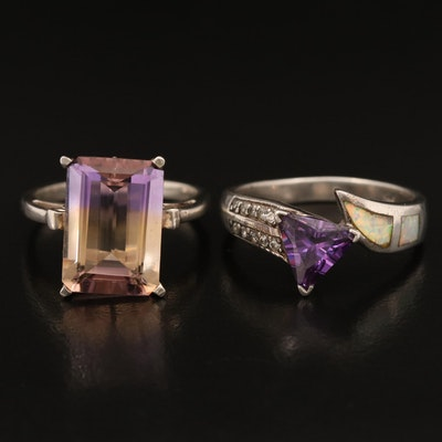 Sterling Rings Including Ametrine, Opal and Cubic Zirconia