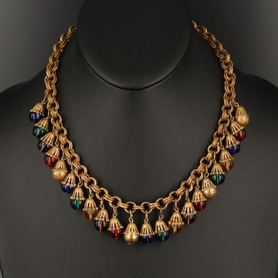 1940s Colored Glass Fringe Necklace
