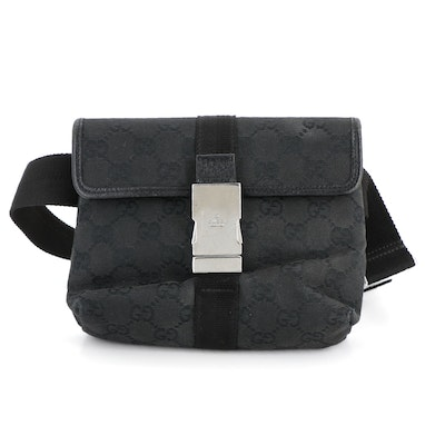 Gucci Single Compartment Belt Bag in Black GG Canvas and Leather Trim