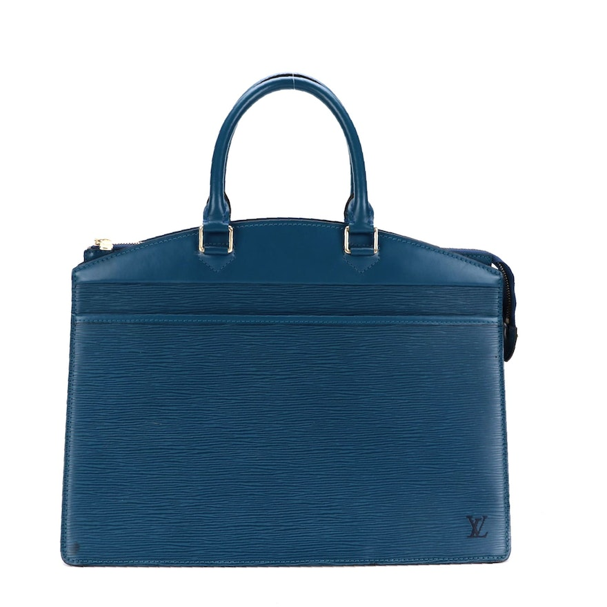 Louis Vuitton Riviera Bag in Toledo Blue Epi and Smooth Leather