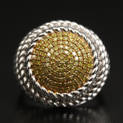 Sterling Silver Pavé Diamond Dome Ring with Twisted Rope Detail