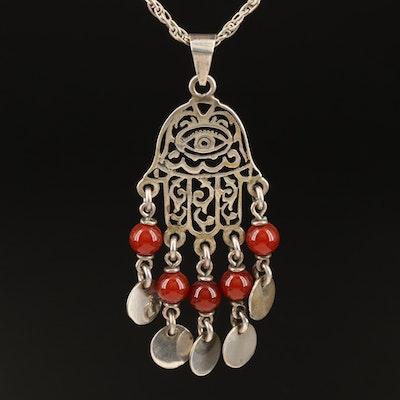 Egyptian 800 Silver Carnelian Hamsa Pendant on Rope Chain Necklace