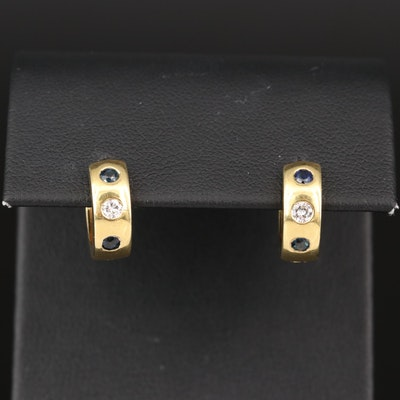 14K Sapphire and Diamond Huggie Earrings