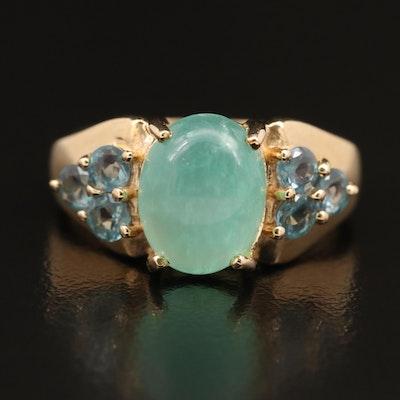 14K Chrysoprase and Alexandrite Ring
